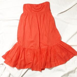 GAP Orange Ruffle Hem Strapless Summer Dress
